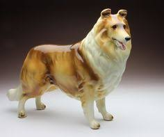 Sable & White Rough Collie Standing Dog Gloss Finish Porcelain Figurine Japan