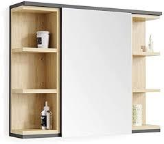 vicco spiegelschrank aquis 80 x 64 anthrazit eiche spiegel