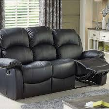 Living Room Recliner Sofa Set Black Leather In M350BN
