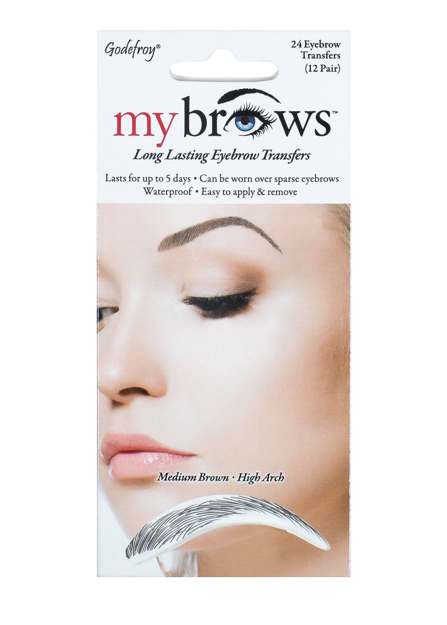 Godefroy My Brows Temporay Eyebrow Transfers - High Arch, Medium Brown