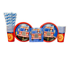 100 Fire Truck Plates 5Alarm Flaming Party Supplies Pack For 16 Guests Straws