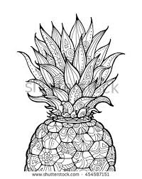 Pineapple Exotic Fruit With Floral Pattern Vector Coloring Book Page For Adult