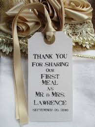 Thank You For Sharing Our First Meal Rustic Wedding Table Decor Tags White Personalised