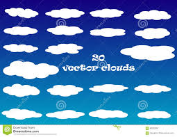 100 Flat Cloud Vector Icons Isolated Over Blue Sky Background Stock