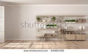 eco white gray interior design wooden stock illustration 620847536