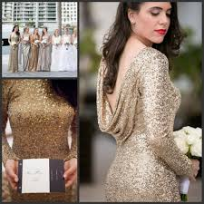 aliexpress com buy champagne long sleeves bridesmaid dresses