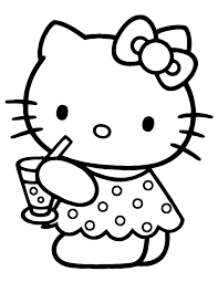 Cute Hello Kitty Drinking Water Coloring Page