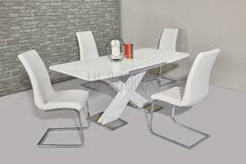 100 White Gloss Extending Dining Table And Chairs Niobe High 140180CM With