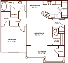 Sunroom Plans Photo by Greystone Summit One Bedroom The Lookout Sunroom Floor Plan