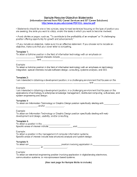 Objective Example Sample Objectives For Resumes Charming Design Resume Template