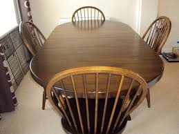 Real Wood Dining Room Table4 Carvers And Cabinet