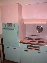 Dreamsville Vintage GE Aqua Stove Oven Combo And Pink Kitchen