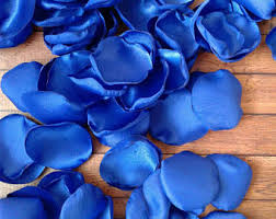 Royal Blue Wedding Petals Rose Satin