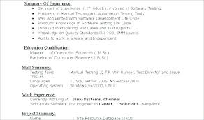 Resume For Software Testing Automation Format 2 Years Experienced Test Engineer Qa Samples