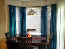 Jcpenney Double Curtain Rods by Blue Curtains And Curtain Rods For Bay Windows In Dining Room