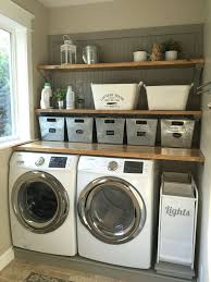 Laundry Room Makeover Wood Counters Walmart Tin Totes Pull Out Bins