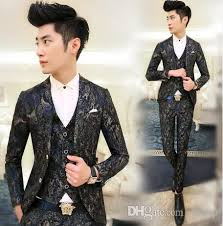New Fashion Party Asian Mens Floral Blazer Suit Jacket Slim Fit Suits For Men DesignsNavy RedM XXL Boy Shorts Online With