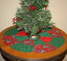 Table Top Christmas Tree Skirt Reversible Made From A Vintage Printed Panel Meant To
