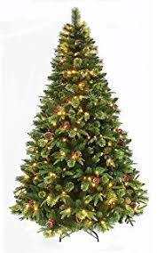 True Nature Beauty Pine Pre Lit Christmas Tree With LED Hinged Construction Decorated