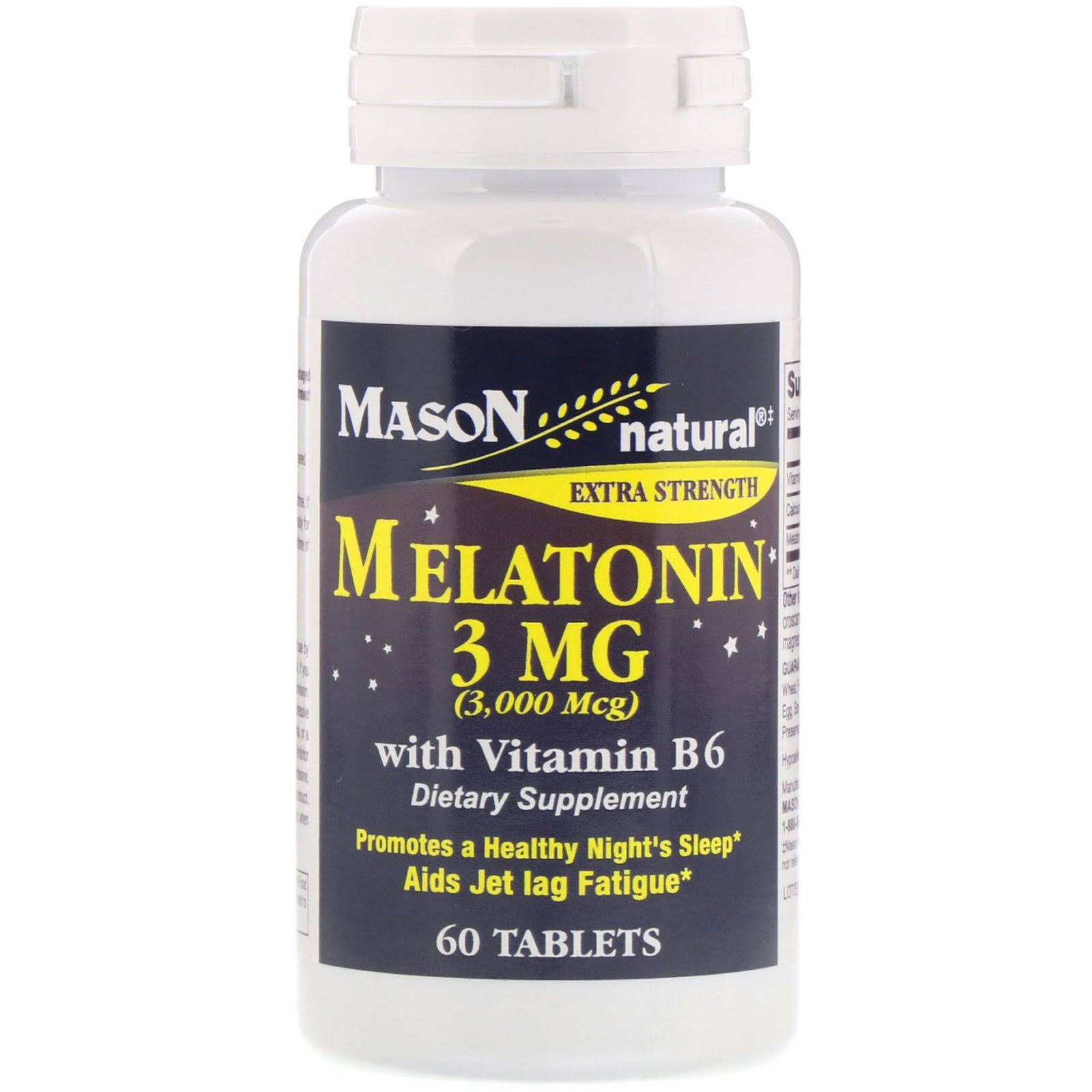 Mason Natural Melatonin Dietary Supplement - with Vitamin B-6, 60 Tablets
