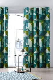 teal abstract geo print eyelet curtains house pinterest