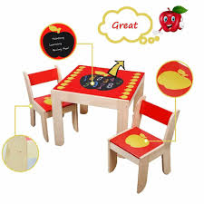 Kids Red Wooden Apple Activity Table Chairs Set Child Home Desk ...