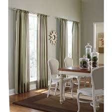 shop allen roth alison 84 in l striped green rod pocket window