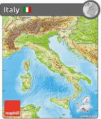 Physical Features Map Of Italy