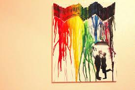 Couple Under Um Umbrella Silhouette Crayon Art
