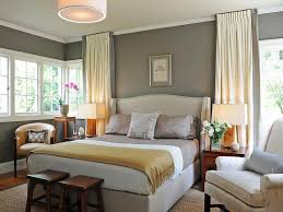 Radiant Grey Wall Also Yellow Window Curtain For Great Bedroom