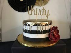 30th Birthday Cake Black white and gold