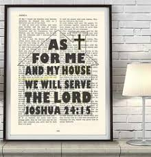 As For Me And My House Joshua 2415 Vintage Bible Page Art Print