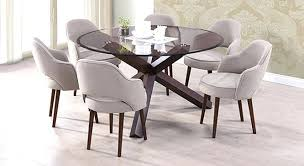Round Dining Table For 6 Room Epic Rustic Glass Top In