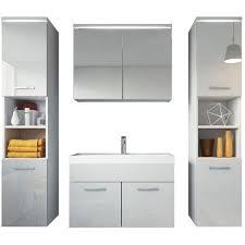 badezimmer badmöbel set paso xl led 80cm waschbecken hochglanz weiß fronten unterschrank 2x hochschrank waschbecken möbel