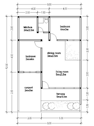 The Building Demarcation Line 8mx12m 3m Blueprints Of House There Are Two Bedrooms With Sizes 3mx4m 5mx35m Living Room Dining 3mx25m