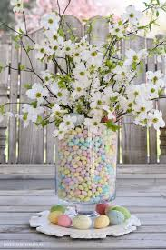 Easy Easter Table Centerpiece Of Jelly Beans Dogwood And Plum Tree Blossoms