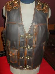 biker vest handmade genuine leather 16mm brown leather with