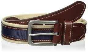 tommy hilfiger men u0027s 1 3 8 in canvas leather ribbon belt khaki