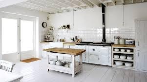 White Kitchen Rustic Country Wood Floors Subway Tile Backsplash
