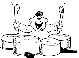 Baby Drummer On Pots Pans Coloring Page