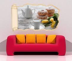 3d wandtattoo tapete küche kaffee frühstück tasse essen blumen gelb durchbruch selbstklebend wandbild wandsticker wohnzimmer wand aufkleber 11o1638