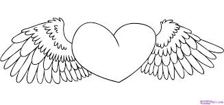 Heart Wings Coloring Pages Hearts Valentines Day Color Free