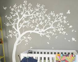 White Tree Sticker Wall Art Decals Birds Wooden Stained Modern Grey Wallpaper Simple Bedroom For Baby