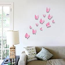Walplus Pink 3D Butterfly Wall Stickers 12 Piece Removable Self Adhesive Mural Art Decals
