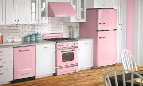 White Kitchen with Pink Appliances Room Decor and Design