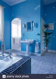 ein modernes badezimmer mit blauen wänden bad mit
