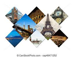 Travel Collage Of Famouse Places Stock Photo