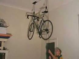 Ceiling Bike Rack Flat by Bike Storage Ceiling Lift Youtube