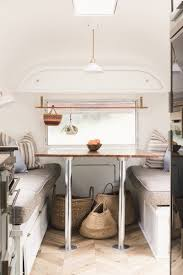 The Dining Space Is Located At Front Of Trailer Chevron Flooring