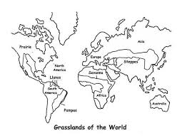 Map Grasslands Outline In World Coloring Page